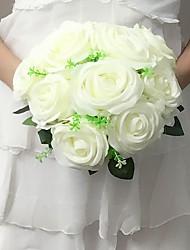 """Bouquets de Noiva Redondo Rosas Buquês Casamento / Festa / noite Cetim 9.84""""(Aprox.25cm)"""