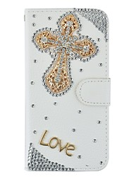 Flip Ultra Thin Handmade Bling Crystal Diamond Synthetic Leather Wallet Case For iPhone5/5s/SE
