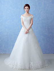A-line Wedding Dress Court Train Off-the-shoulder Tulle with Beading