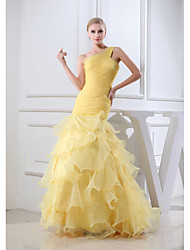 Formal Evening Dress Trumpet / Mermaid One Shoulder Floor-length Organza with Side Draping / Ruching