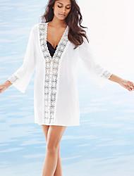 Une-pièce / Robes Légères Aux femmes Couleur Pleine Une-Pièce Licou Mousseline de soie / Polyester / Spandex
