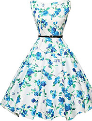 Women's Casual/Daily Vintage A Line Dress,Floral Round Neck Knee-length Sleeveless Blue Cotton Summer