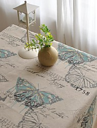 Butterfly Patterned Table Cloth Fashion Hotsale High-grade Cotton Linen Square Coffee Table Cloth Cover Towel
