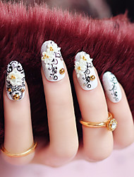 24pcs/set Fake Nails False Nail Finished Manicure Nails Tips Totem Flower