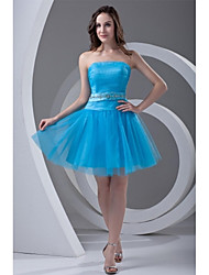 A-Line Strapless Short / Mini Tulle Cocktail Party Prom Dress with Beading Draping Sash / Ribbon