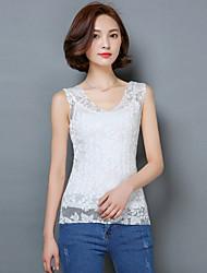 2016 Summer New Women Slim Lace Vest,V Neck Sleeveless