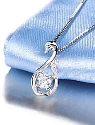 Real Silver Link Chain AAA+ Natural Rhinestone Swan Pendant Necklace 2016 NEW Crystal Jewelry High Quality