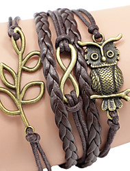 Men's Brown Owl/Leaf Braided/Cord Leather Handmade Multilayer Charm Bracelet Unisex