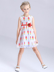 Girl's Red / Yellow Dress Polyester Summer