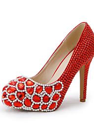 Mujer-Tacón Stiletto-TaconesBoda / Vestido / Fiesta y Noche-Semicuero-Rojo