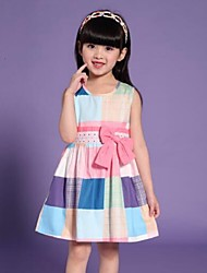 Girls Dress Colorful Checked Belt 100% Cotton Party Birthday Casual Children Clothing