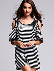 Women's Vintage / Street chic Classic Striped Off-The-Shoulder Loose Dress,Round Neck Puff Sleeve Above Knee