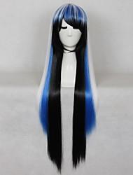 120 centímetros de comprimento destaque reta azul misturou branco peruca cor ombre para cosplay de alta qualidade
