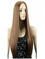 новые моды парик коричневые точки в длинные прямые волосы парика
