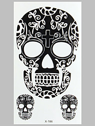 Fashion Tattoo Black Skull Waterproof Tattoo Stickers