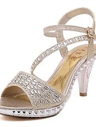 Women's Shoes Glitter Stiletto Heel Open Toe Sandals Dress Black / Gold