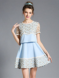 Summer Fashion Women Plus Size Vintage Embroidery Lace See Through Patchwork A Line Short Dress