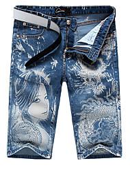 Men's Fashion Blue Denim Girl and Dragon Print Jeans Shorts