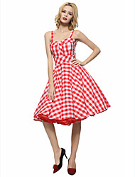Maggie Tang Women's 50s VTG Retro Check Rockabilly Hepburn Pinup Business Swing Dress 537