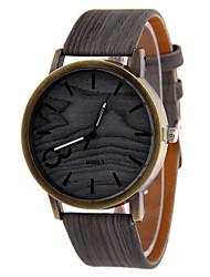 Men's Gray Case Wood Shape PU Leather Band Analog Quartz Wrist Watch Cool Watch Unique Watch Fashion Watch