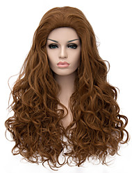 Top Quality Long Length Brown Color Curly Hair European Weave Synthetic Wig