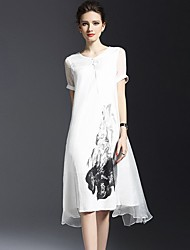 Women's Vintage Simple Round Neck Floral Loose Midi Dress