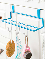 Iron Art Kitchen Cabinet Door Type Double Pole Towel Rack Non-trace Cloth Hanging Rack Random Color