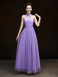 Ankle-length Satin / Tulle Bridesmaid Dress - A-line Halter with Flower(s)