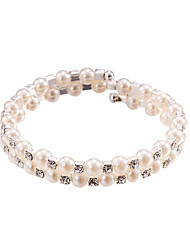 Pearl Crystal No Clasp Elastic Bangle Bracelet Jewelry (One Size for All)