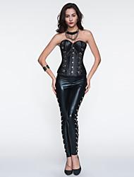 Women's Leather Button Patchwork Bustier Cincher Waist Corset,Lingerie Shaperwear