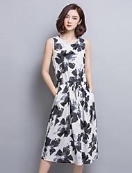 2016 Summer Women Retro Art Ink Printing Slim Dress