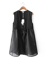 Women's Solid Black Blouse,Deep V Sleeveless