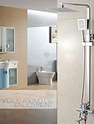 Moderne Set de centre Douche pluie Douchette inclue with  Soupape céramique 1 trou Mitigeur deux trous for  Chrome , Robinet de douche