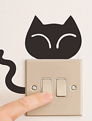 Wall Stickers Wall Decals Style Smiling Cat Switch PVC Wall Stickers