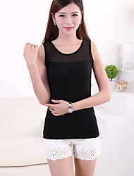 Women's Lace Sexy Tanks Tops,Fashion Round Neck Sleeveless T shirts,Summer Athletic Vest Gym Tops