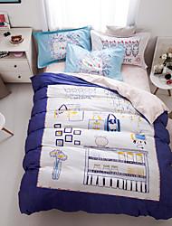 Dark blue print duvet cover Sets 100% Cotton Bedding Set Queen/Double/Full Size