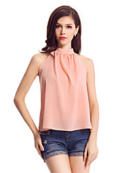Women's Solid Pink  Black Blouse,Halter Sleeveless