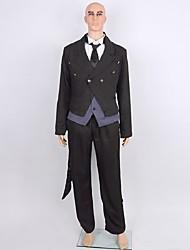 Inspiré par Black Butler Sebastian Michaelis Anime Costumes de cosplay Costumes Cosplay Couleur Pleine Noir Manche LonguesManteau / Top /