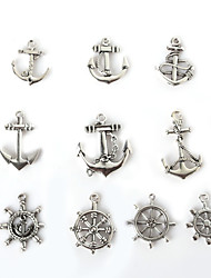 Beadia Metal Rudder & Anchor Charm Pendants Antique Silver Plated DIY Jewelry Accessories
