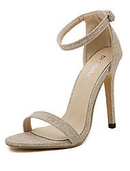 Women's Shoes Leatherette Stiletto Heel Open Toe Sandals Casual Black / Silver / Gold