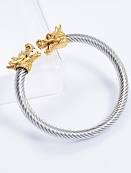 Gold Plated 316L Stainless Steel Dragon Head Cable Cuff Bangle