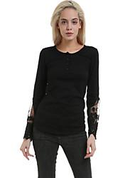 Women's Sexy/Beach/Casual Long Sleeve Slim T-shirt