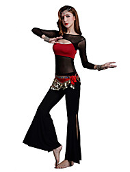 Belly Dance Outfits Women's Training Modal Criss-Cross 2 Pieces Black / Fuchsia / Burgundy Belly Dance Backless Long Sleeve Natural