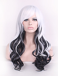 Women Long Deep Wave Synthetic Hair Wig Black Mix White with Free Hair Net