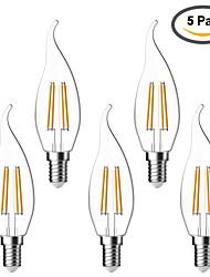 5 pcs kwb E14 4W 4 COB 400 lm Warm White C35T edison Vintage LED Filament Bulbs AC 220-240 V