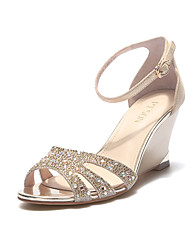 PT'SON Women's Leather Wedge Heel Sandals Gold