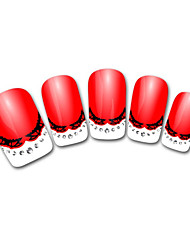 Abstract Red French 3D Nail Stickers