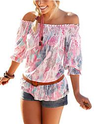 Mulheres Camiseta Praia Sensual Verão,Floral Rosa Poliéster Decote Canoa Manga ¾ Fina