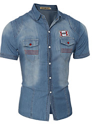 Camisa De los hombres Estampado Casual-Algodón-Manga Corta-Azul