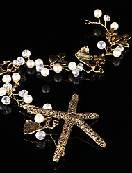 Luxery Gold Starfish Women's / Flower Girl's Pearl / Alloy Headpiece-Wedding / Special Occasion Head Chain 1 Piece
